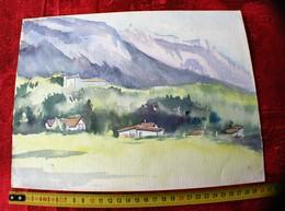 PAYSAGE DE MONTAGNE   PEINTURE ORIGINALE-AQUARELLE SUR  CARTON RIGIDE -ÉLÈVE TERMINALE  ECOLE DES BOZARTS  MARSEILLE - Watercolours