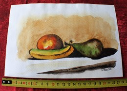 RECTO NATURE MORTE POMME POIRE BANANE VERSO CANARD  PEINTURE ORIGINALE-AQUARELLE CARTON RIGIDE-ECOLE BOZART MARSEILLE - Watercolours