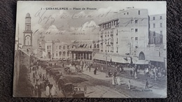 CPA CASABLANCA MAROC PLACE DE FRANCE ANIMATION ATTELAGES ED BERTOU 1922 - Casablanca
