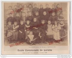 Au Plus Rapide Lorette Loire Ecole Communale Directrice Mme Pallandre 1896 Classe Filles Chien Photographe Brunet - Supplies And Equipment