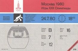 Original Unused Ticket Basketball Women's Bulgaria Vs Cuba Moscow 1980 80 Olympic Games Olympics Olympiad - Tickets - Entradas