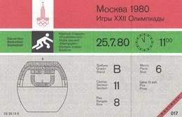 Original Unused Ticket Basketball Men's Brazil  Vs Cuba Moscow 1980 80 Olympic Games Olympics Olympiad - Tickets - Entradas