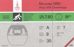 Original Unused Ticket Basketball Men's USSR Russia Vs Spain Espana Moscow 1980 80 Olympic Games Olympics Olympiad - Tickets - Entradas