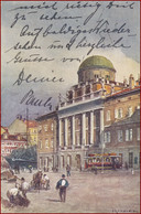 Trieste (Triest) * Palazzo Carciotti, Tram, Pferde, Schiffe, Leute * Italien * AK2640 - Trieste