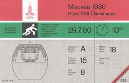 Original Unused Ticket Basketball Men's Spain Espana Vs Italy Italia Moscow 1980 80 Olympic Games Olympics Olympiad - Tickets - Entradas