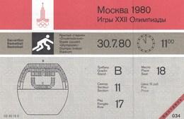Original Unused Ticket Basketball Women's Bronze Medal Yugoslavia Hungary Moscow 1980 80 Olympic Games Olympics Olympiad - Tickets - Entradas
