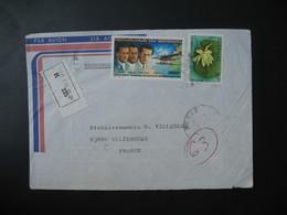 Lettre Recommandé 335  Sénégal  1982  Pour La France Dakar TP Traversée Aérospatiale De L'Atlantique Sud Et Nymphaea - Senegal (1960-...)