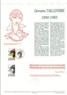 DOCUMENT FDC 1992 GERMAINE TAILLEFERRE - Documenten Van De Post