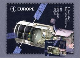 Belgium 2019 CM MC Maximum Card, Space, Automated Transfer Vehicle ATV, Food Provisioning Of ISS - Europa