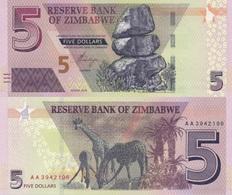 ZIMBABWE 5 Dollars 2019 P New UNC - Simbabwe