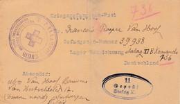 CP Cachet Censure Stalag XI Croix Rouge Vers Deurne - Documents