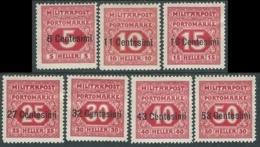 1918 OCCUPAZIONE AUSTRIACA SEGNATASSE 7 VALORI MH * - RA17-3 - 8. Occupazione 1a Guerra