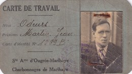 1944 Carte Travail Charbon Marihaye Ougrée - Documentos