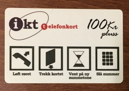 NORVÈGE IKT PHONE CARD CARTE TÉLÉPHONIQUE À PISTE MAGNÉTIQUE PRÉPAYÉE PAS TELECARTE - Noorwegen