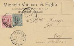 Ripacandida. 1920. Annullo Frazionario  ( 51 - 98), Su Cartolina Postale PUBBLICITARIA ... MEDIATORI VINO E UVA .... - 1900-44 Vittorio Emanuele III
