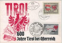 600 Jahre Tirol Bei Österreich - Vignette Wappen - Tiroler Adler Ersttag - 1961-70 Briefe U. Dokumente