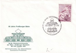 Austria 1974 Cover: Railway Trains; Eisenbahn; 60 Jahre Pressburger Bahn; SChwechnat Cancellation - Trains