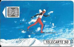 CARTE-PUBLIC-50U-F205A-SC5-11/91-SKI DE FOND--5 N° NOIRS LASERS N°35640-TBE-RARE - France