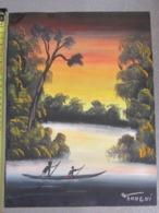 TABLEAU PIROGUES EN AFRIQUE SIGNE ANHGNI - Watercolours