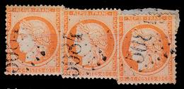 FRANCE : 1870 - No. 38 : 40 C - CÉRÈS - 3 TIMBRES Sur FRAGMENT De LETTRE - G.C. 5084 - DARDANELLES / LEVANT (ae738) - 1870 Siège De Paris