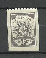 LETTLAND Latvia 1919 Michel 20 Perforated 9 3/4 At Top Margin * - Latvia