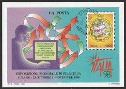 """ITALIA 1998 Esposizione Mondiale Di Filatelia """"Italia'98"""" Foglietto Giornata Delle Poste Usato - 6. 1946-.. Repubblica"""