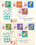 Hungary Registered FDC Olympic Games In Insbruck 1964 Complete Set Of 8 On 2 Covers With Cachet 17-12-1963 - FDC