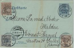 Ganzsache Postkarte Ausstellung Zittau 1902 Nach Ebnat-Kappel - Germania - Deutschland