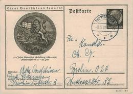 Ganzsache Postkarte Bad Kissingen - Universität Heidelberg - 1936 - (Bestellung Versch. Sahnesorten) - Hindenburg - Germania
