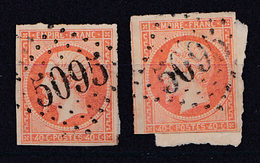 FRANCE : 1853 - No. 16 - 40 C - NAPOLÉON III : 2 TIMBRES Sur FRAGMENTS De LETTRE - CACHET : G.C. 5095 - SALONIQUE (ae720 - 1853-1860 Napoléon III