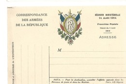 CARTE FRANCHISE MILITAIRE 14/18 - SIMPLE - NEUVE - 28 - Marcophilie (Lettres)