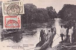 CPA Brazzaville (Congo Français) Traversée Du D'Joué  Pirogue Avec Explorateurs 1909  Col Haudy  N° 15 - Congo Francese - Altri
