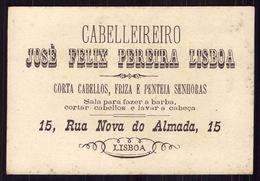 Cartão Publicidade Loja CABELEIREIRO Rua Nova Almada LISBOA. Chromo Coiffeur Old Victorian Trade Card VTC Portugal 1880s - Cromo