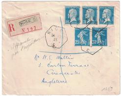 1925 - TRÈS BEL AFFRANCHISSEMENT Avec PASTEUR 50c 75c 1F + SEMEUSE 25c 30c Sur LETTRE RECOMMANDÉE NICE ANGLETERRE - Marcofilia (sobres)
