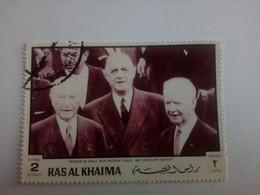 EMIRATS ARABES UNIS - RAS AL-KHAIMA - Timbre 1970 : Charles De Gaulle, Président Lubeck, Chancelier Adenauer - Ras Al-Khaimah