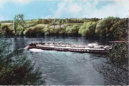 CPSM    Batellerie  Montesson La Borde (78)   Péniche De L'Union Normande  Sur Le Fleuve    1963 Ed Du Café Tabac - Houseboats