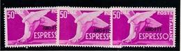 1952 Italia  Italy Trieste A  50 Lire Espresso X 3 MNH** - 7. Trieste
