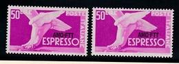 1952 Italia  Italy Trieste A  50 Lire Espresso X 2 MNH** - 7. Trieste