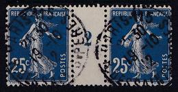 FRANCE : 1907 - No. 140 : 25 C - PAIRE Avec MILÉSIME : 2 - À VOIR ! (ae774) - 1906-38 Semeuse Camée