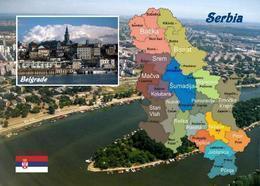 Serbia Country Map New Postcard Serbien Landkarte AK - Serbia