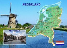 Netherlands Country Map New Postcard Niederlande Landkarte AK - Otros