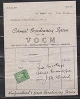 NEWFOUNDLAND Scott 254 Used As Revenue On VOCM Receipt For Radio Announcements - 1908-1947