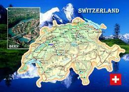Switzerland Country Map New Postcard Schweiz Landkarte AK - Otros
