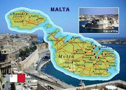 Malta Country Map New Postcard Landkarte AK - Malta