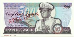 Zaire - 500 Zaïres - 14.10.1984 - Unc. - Pick 30.s -  SPECIMEN - Mobutu - Zaire
