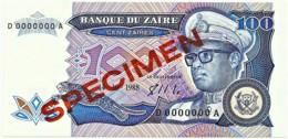 Zaire - 100 Zaïres - 14.10.1988 - Unc. - Pick 33.s -  SPECIMEN - Mobutu - Zaire
