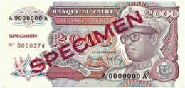 Zaire - 2000 Zaïres - 1.10.1991 - Unc. - Pick 36.s -  SPECIMEN - Mobutu - 2 000 - Zaire