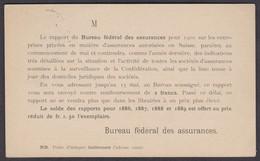 "1903  POSTKARTE "" BUREAU FEDERAL DES ASSURANCES "" RUECKSEITIG BEDRUCKT - Stamped Stationery"