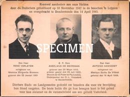 Roemvol Aandenken Aan Onze Helden Door De Duitschers Gefusilleerd 1942 - Loppem - Zedelgem