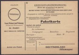 Carte Vierge D'envoi De Colis (Pakertkarte - Kriegsgefangenensendung) Pour Prisonnier De Guerre En Allemagne - Guerre 40-45